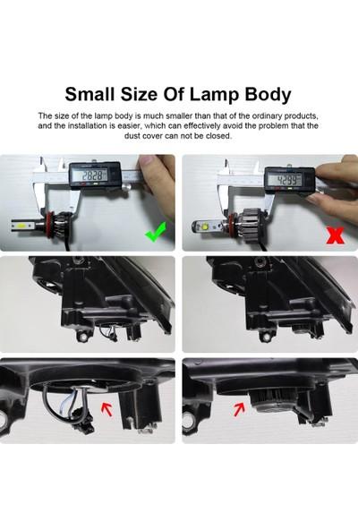 Balp 2 Adet Mini Slim LED Zenon H4 Uzun Kısa Ampulü Şimşek Etkili 8000LM 6500K Süper Güçlü Beyaz Işık