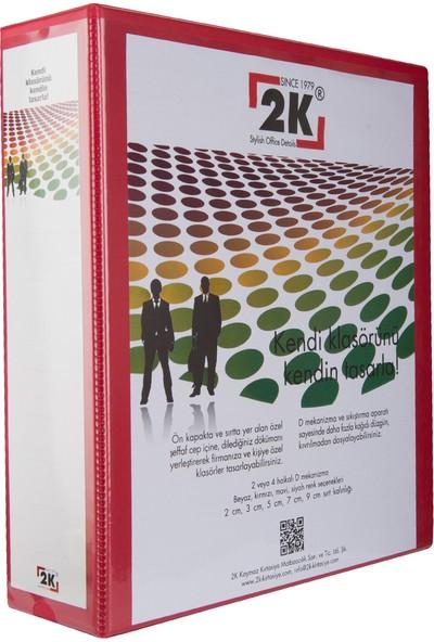 2K 7 cm 2 Halkalı İç Dış Şeffaf Cepli Firma Sunum ve Evrak Klasörü 520 Yaprak Kırmızı