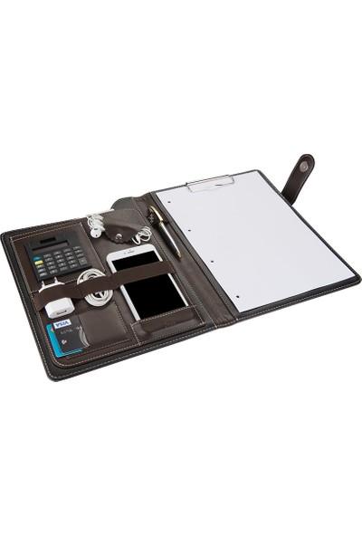 2K A4 Suni Deri Phone Kavis Model Sekreter Blok Tablası Hesap Makinalı 100 Yaprak Kahve
