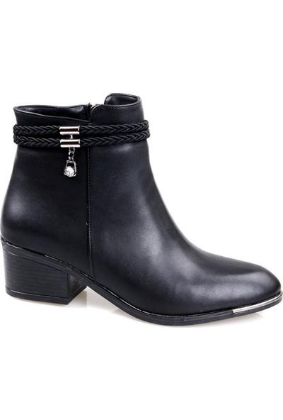 Papuçcity Bilener 5 cm Topuk Siyah Günlük Bayan Bot Ayakkabı