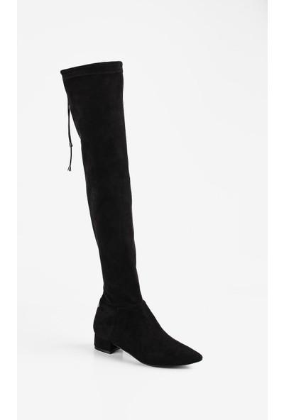 Gökhan Talay Siyah Streç Diz Üstü Çorap Çizme