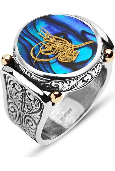 Gül Endam Okyanus Sedefi Üzerine Altın Varak Tuğralı Gümüş Yüzük