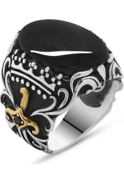 Gül Endam Oniks Taşlı Kılıç Tasarım 925 Ayar Gümüş Akıncı Yüzüğü