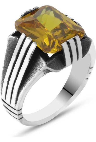 Gül Endam Sarı Zirkon Taşlı Zarif Tasarım 925 Ayar Gümüş Erkek Yüzük