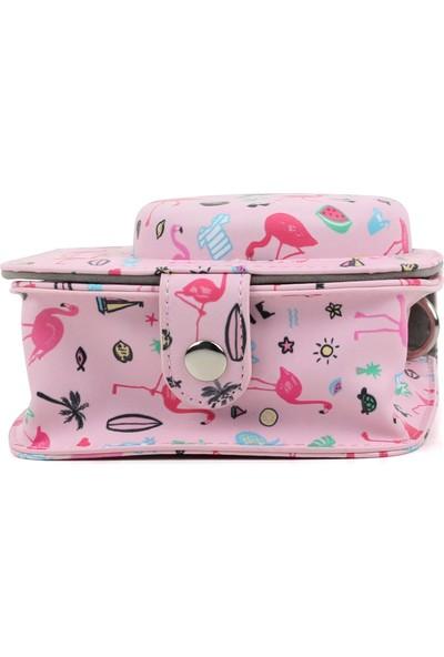 Trendfone Fujifilm Instax Mini 9 Flamingo Desenli Çanta KILIF-122 cm Aynı Renk Taşıma Askısı Ile BIRLIKTE534