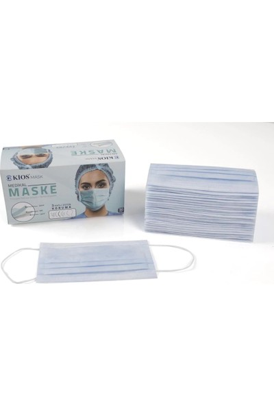 Kios 3 Katlı Üstün Koruma Cerrahi Maske 50'li