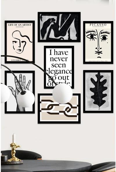 Kate Louise 7 Parça Çerçeve Görünümlü Mdf Tablo Seti