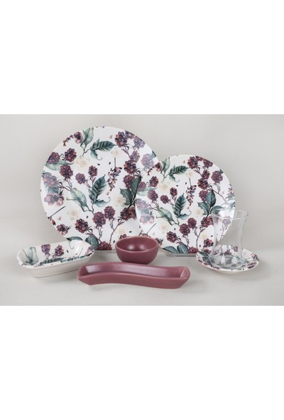 Keramika 19 Parça Kahvaltı Takımı-Mor Üzümler