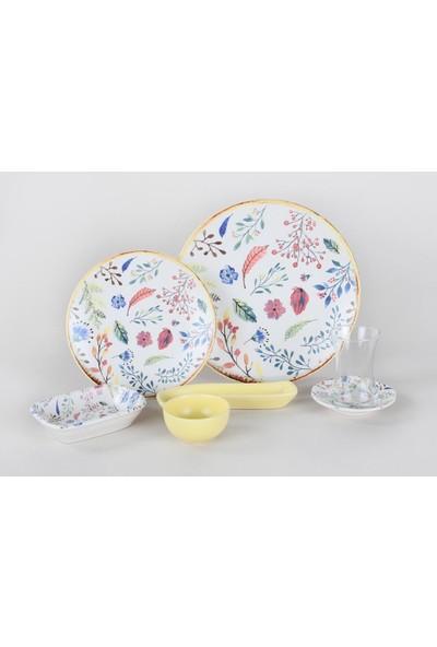 Keramika 19 Parça Kahvaltı Takımı-Neşeli Sonbahar Deseni