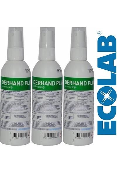 Ecolab Derhand Plus Profesyonel El ve Cilt Dezenfektanı 100 ml x 3 Adet, Sprey Başlıklı