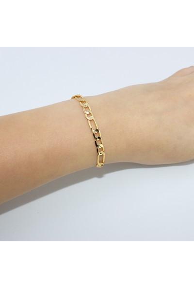 D'amore Atelier Altın Kaplama Kalın Künye Zincir Bileklik