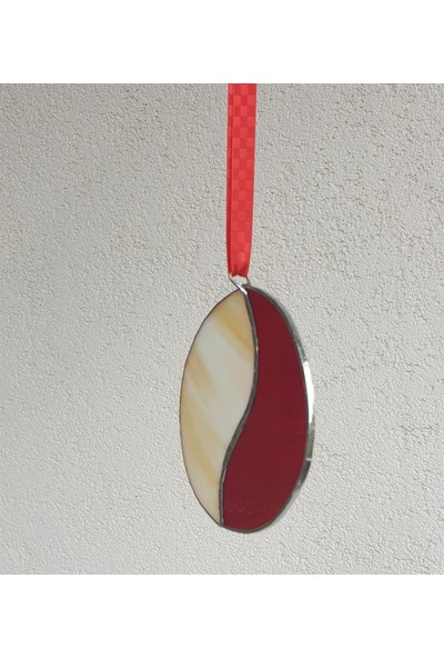 Markakanvas Kırmızı,beyaz Cam Vitray 12X11CM
