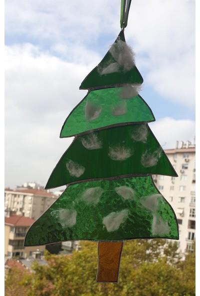 Markakanvas Çam Ağacı, Yılbaşı Cam Vitray 24X15CM