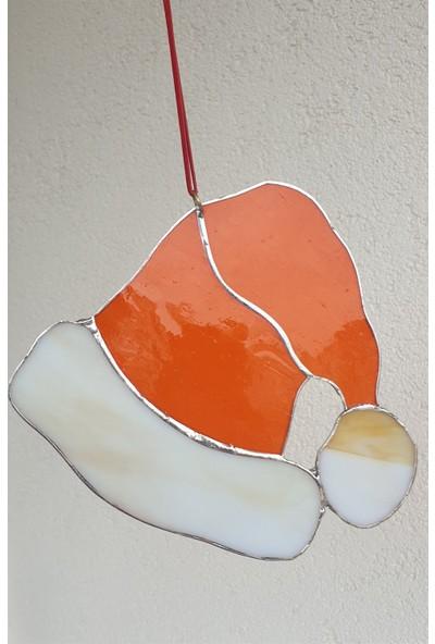 Markakanvas Turuncu ,beyaz Yılbaşı Şapkası Cam Vitray 16X16CM