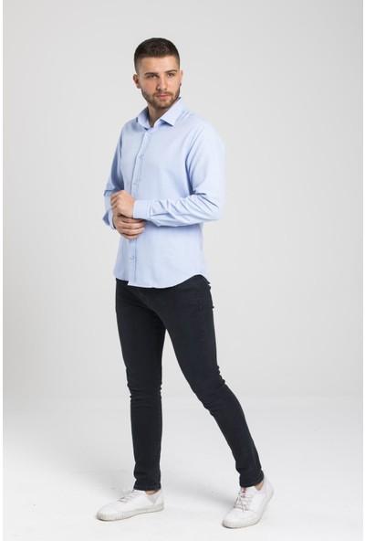 Altegro Trendy Slim Fit Rahat Kalıp Uzun Kollu Oxford Mavi Erkek Gömlek