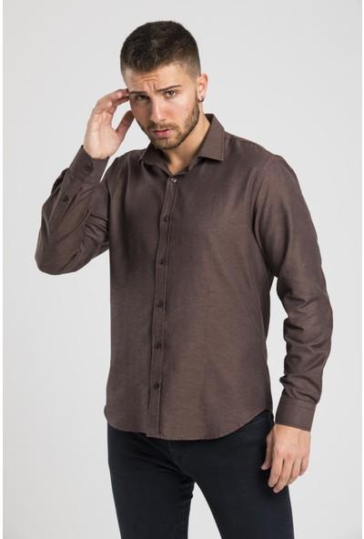 Altegro Trendy Slim Fit Rahat Kalıp Uzun Kollu Oxford Kahverengi Erkek Gömlek
