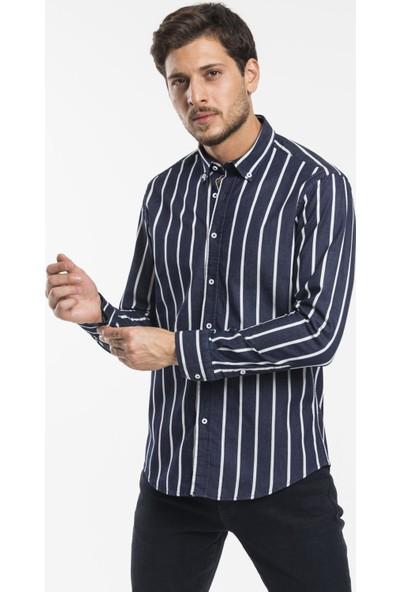 Altegro Trendy Slim Fit Rahat Kalıp Coton Yıkamalı Indigo Beyaz Çizgili Erkek Gömlek