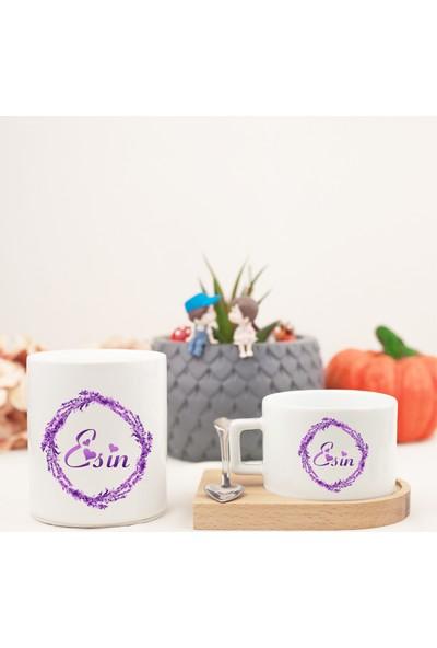 Mutlu Mutfak Atölye Kişiye Özel Ahşap Altlıklı Kahve Fincanı ve Kumbara Seti İsimli Lavantalı