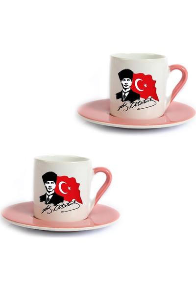 Mutlu Mutfak Atölye Öğretmenler Günü Hediyesi Atatürk 3 Ikili Pembe Türk Kahvesi Fincanı