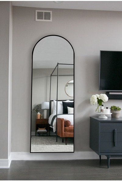 Hüma's Dekoratif Oval Boy Aynası Siyah 180 x 60 cm