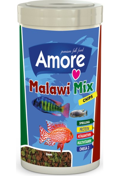 Amore Malawi Mix Chips 250 ml Tanganyika Cichlid Akvaryum Balık Yemi