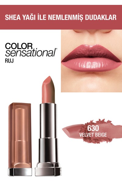 Maybelline New York Color Sensational Ruj - 630 Velvet Beige - Nude Pembe