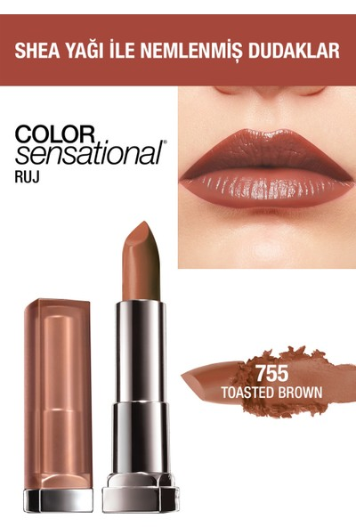 Maybelline New York Color Sensational Ruj 755 Toasted Brown
