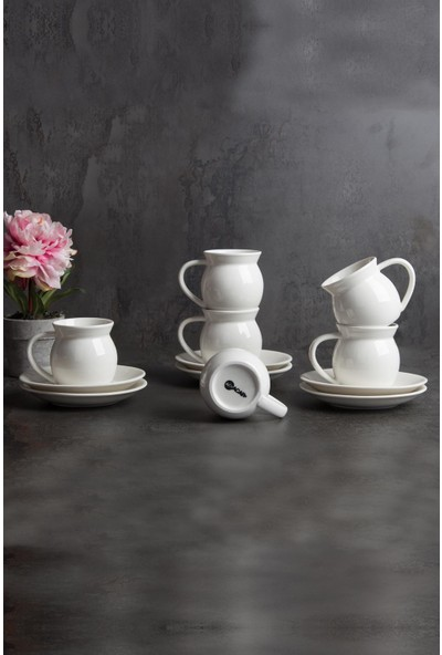 Acar Laura Beyaz Porselen 6'lı Kahve Fincan Takımı