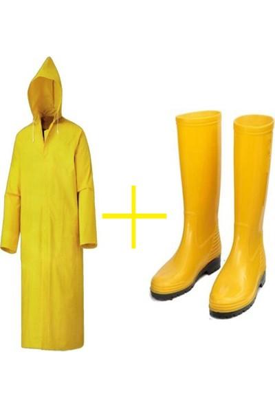 Gezer Sarı Yağmurluk-Sarı Uzun Çizme