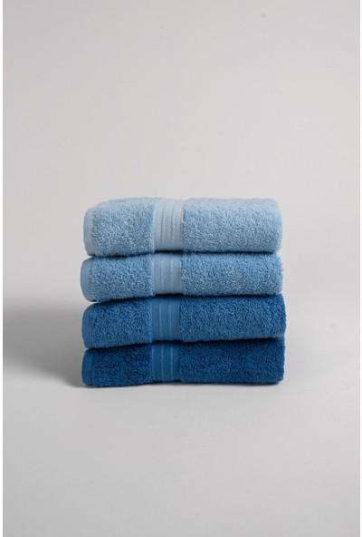 Tertio 4'lü Rainbow Mavi 50 x 90 cm Havlu Seti