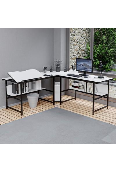 Yasmak Beyaz L Bilgisayar ve Çizim Masası