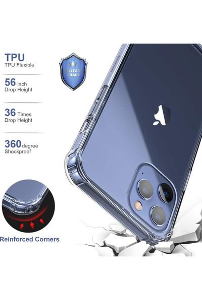 Kzy Apple iPhone 12 Kılıf Şeffaf Airbag Antishock Köşe Korumalı Silikon Kapak