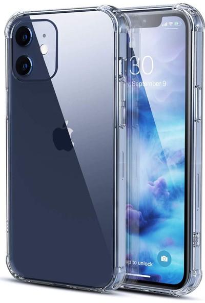 Kzy Apple iPhone 12 Kılıf Şeffaf Airbag Antishock Köşe Korumalı Silikon Kapak + Temperli Ekran Koruyucu Cam
