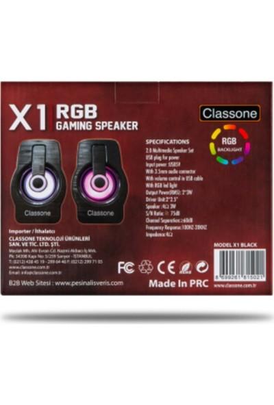 Classone X1 Black Rgb Gaming Hoparlör