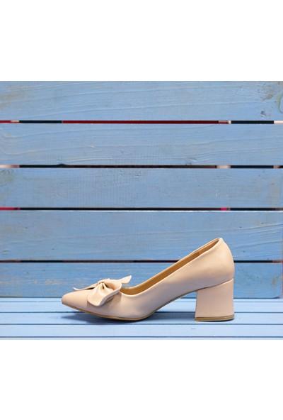 Papuç Çiçek Fiyonklu Ten Topuklu Ayakkabı