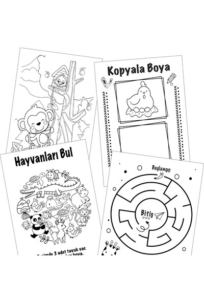 10 Adet Çocuk Boyama ve Aktivite Kitap Seti - Eşleştirme - Labirent - Kelime Avı
