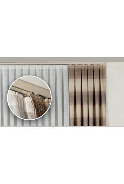 Süsler Beyaz Dekoratif Alüminyum Perde Rayı-Perde Kornişi 2'li 100 cm