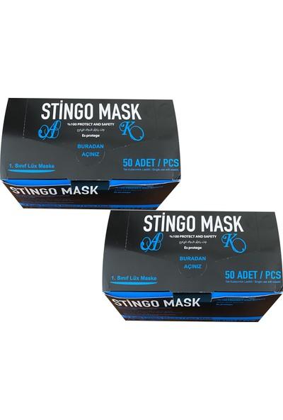 Stingo Mask 3 Katlı Telli Cerrahi Maske Pamuk Kulaklıklı 50'li x 2 Adet