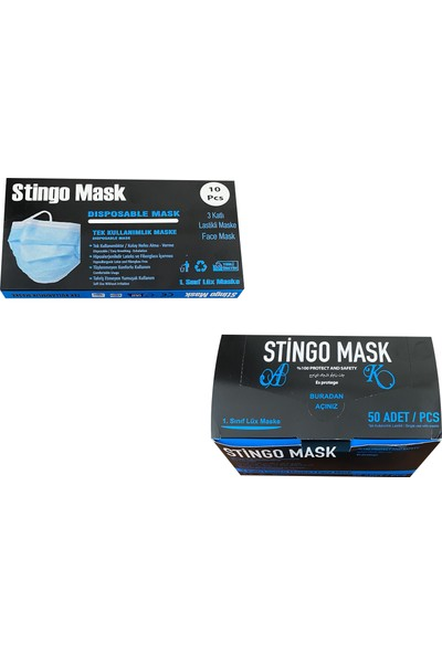 Stingo Mask 3 Katlı Telli Cerrahi Maske Pamuk Kulaklıklı 50'li + 10'lu