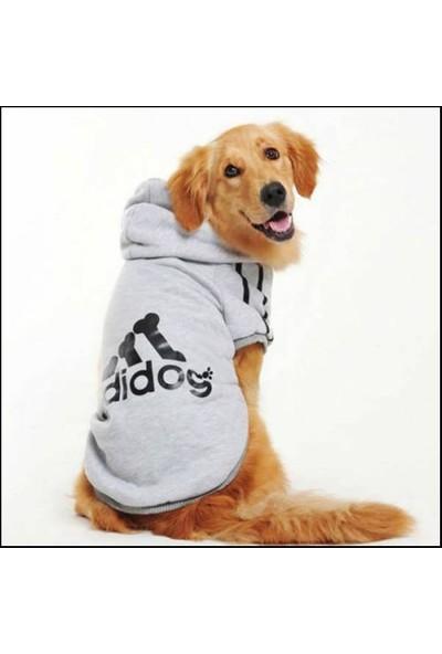 Kemique Gri Kapşonlu Adidog Sweatshirt Büyük Köpekler Için 5XL