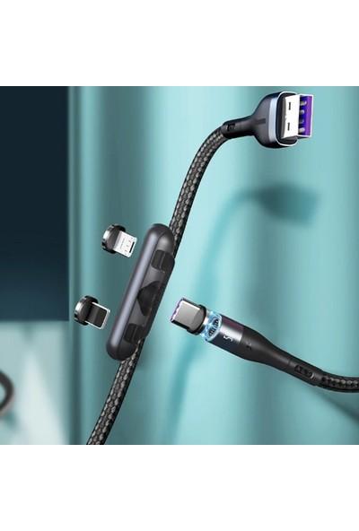 Baseus Safe Fast 3A Hızlı Şarj Mıknatıslı USB Şarj Kablosu 3 Başlık (Lightning+Type-C+Micro) 1 mt CA1T3-AG01