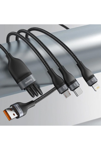 Baseus 5A Flash Series Hızlı Şarj 3in1 Başlık USB Kablo Micro-Type-C Apple iPhone CA1T3-G1