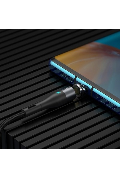 Baseus Zinc Safe Manyetik USB Kablo Şarj USB Type C Başlık 5.0A 1 mt CATXC-BG1