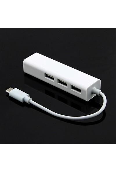 Ally USB Type-C 100 Mbps Rj45 Ethernet Adaptöru 3-port USB 2.0 Hub Çoklayıcı AL-33077