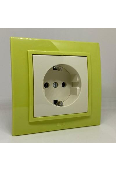 Elbi Zena Topraklı Priz Çerçeveli Yeşil Renkli