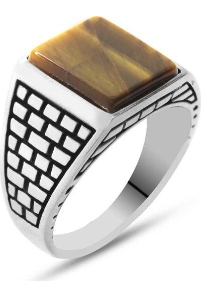 Kovan Kaplangözü Taşlı 925 Ayar Gümüş Kaledar Yüzüğü