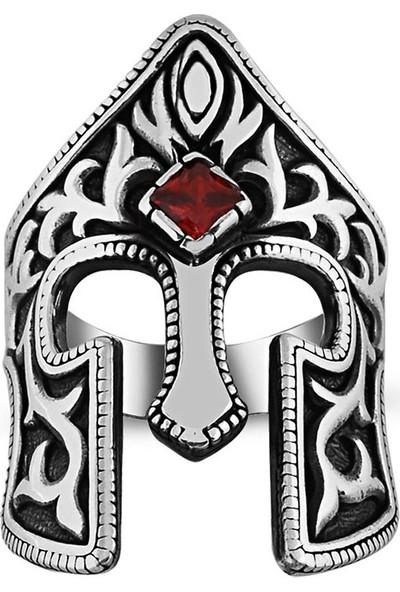 Kovan Kırmızı Zirkon Taşlı 925 Ayar Gümüş Miğfer Yüzük