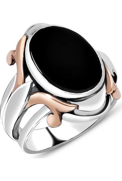 Kovan Özel Tasarım Siyah Oniks Taşlı 925 Ayar Gümüş Erkek Yüzük