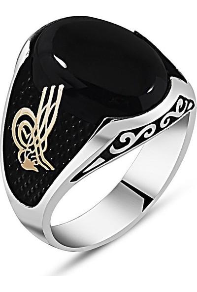 Kovan Özel Tasarım Tuğra İşlemeli Siyah Oniks Taşlı 925 Ayar Gümüş Erkek Yüzük
