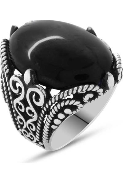Kovan Siyah Oniks Taşlı Ferforje Tasarım 925 Ayar Gümüş Erkek Yüzük